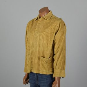 XXL 1950s Gold Rockabilly Shirt Wide Wale Corduroy Pullover Yellow Patch Pocket Long Sleeve  - Fashionconstellate.com