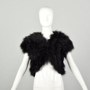 Small 1980s Marabou Black Feather Vest Embellished Shrug Feather Top