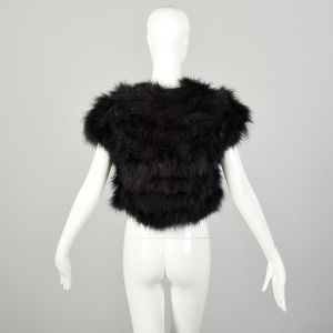 Small 1980s Marabou Black Feather Vest Embellished Shrug Feather Top  - Fashionconstellate.com