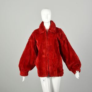 Large 1980s Sheared Red Fur Bomber Jacket Oversized Cozy Winter Coat Zip Front