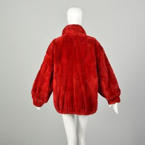 Large 1980s Sheared Red Fur Bomber Jacket Oversized Cozy Winter Coat Zip Front  - Fashionconstellate.com