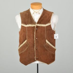 Sz Med 1970s JCPenney Vest Leather and Sherpa Distressed Bohemian
