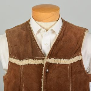 Sz Med 1970s JCPenney Vest Leather and Sherpa Distressed Bohemian - Fashionconstellate.com