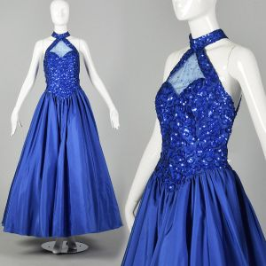Small 1980s Mike Benet Ballgown Dress Royal Blue Sequin Formal Event