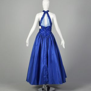 Small 1980s Mike Benet Ballgown Dress Royal Blue Sequin Formal Event  - Fashionconstellate.com