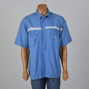 XL 1980s Shirt Bugle Boy Blue Short Sleeve Flap Pockets Shell Buttons Lightweight Button Up