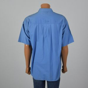 XL 1980s Shirt Bugle Boy Blue Short Sleeve Flap Pockets Shell Buttons Lightweight Button Up - Fashionconstellate.com