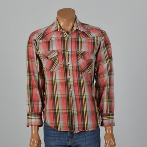 XL 1960s Shirt Cotton Flannel Red Plaid Wing Collar Long Sleeve Flap Pockets Button Front