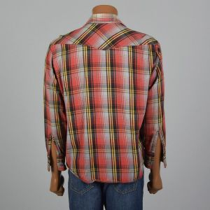 XL 1960s Shirt Cotton Flannel Red Plaid Wing Collar Long Sleeve Flap Pockets Button Front - Fashionconstellate.com
