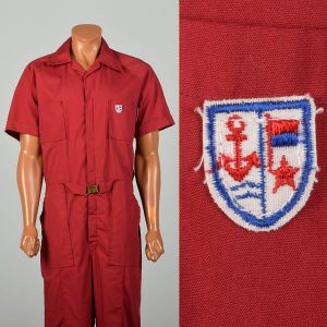 Medium 1970s Coveralls Red Sailor Belted Short Sleeve Jumpsuit Workwear