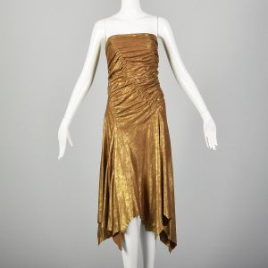 Small 2001 Donna Karan Runway Leather Dress Ruched Bodice Sexy Gold Suede Designer