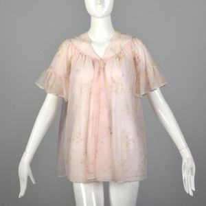 XS 1950s Bed Jacket Vintage Lingerie Sissy Babydoll Pink Nylon Chiffon Short Sleeve Lightweight