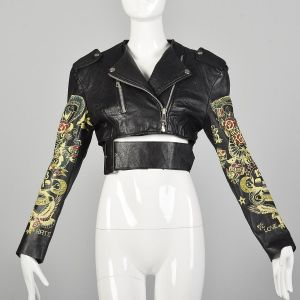 XS Iconic 1988 John Richmond Leather Jacket Tattoo Sleeve Rock & Roll Punk Streetstyle