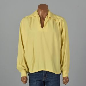 XL 1960s Shirt Yellow Poet Sleeve Button Cuff Loop Collar Rockabilly Elvis Long Sleeve