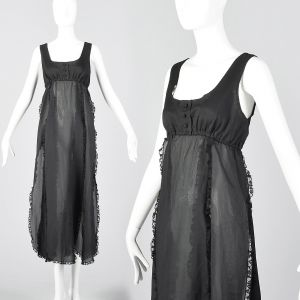 Small 1970s Saks Fifth Avenue Sheer Black Nightgown Sexy Lingerie