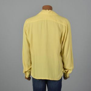 XL 1960s Shirt Yellow Poet Sleeve Button Cuff Loop Collar Rockabilly Elvis Long Sleeve - Fashionconstellate.com