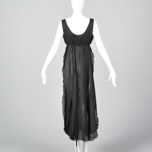 Small 1970s Saks Fifth Avenue Sheer Black Nightgown Sexy Lingerie - Fashionconstellate.com