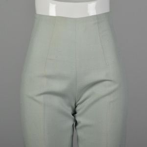 XXS 1960s Mint Pants Hight Waisted Cigarette Pants Creased Front Rockabilly Pinup - Fashionconstellate.com