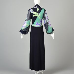 Small 1970s Leonard Floral Chiffon Maxi Dress Abstract Print Poet Sleeves - Fashionconstellate.com