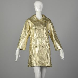 Small 1960s Metallic Gold Leather Mini Trench Coat Jacket Mod Bond Girl  - Fashionconstellate.com
