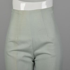 XXS 1960s Mint Pants Cigarette Pants Hight Waisted Trouser Pastel Green Rockabilly Pinup - Fashionconstellate.com
