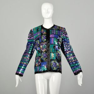 Large 1990s Jewel Tone Sequin Jacket Bright Color Block Geometric Holiday Separate