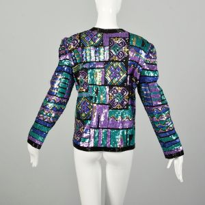 Large 1990s Jewel Tone Sequin Jacket Bright Color Block Geometric Holiday Separate - Fashionconstellate.com