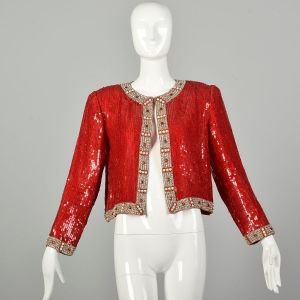 Medium 1990s Red Sequin Beaded Jacket Holiday Cocktail Party Separates Evening Wear