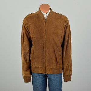 XL 1990s Suede Bomber Jacket Leather Color Block Coat