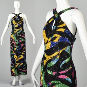 Small 1990s Michael Novarese Formal Beaded Maxi Dress Abstract Print Evening Gown