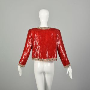 Medium 1990s Red Sequin Beaded Jacket Holiday Cocktail Party Separates Evening Wear  - Fashionconstellate.com