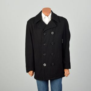 Large 2000s Peacoat Black Double Breasted Winter