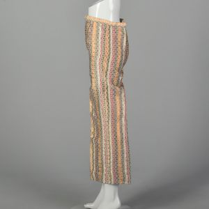 XXS Metallic Striped Pants 1970s Copper Bronze Gold Silver High Waist Trousers - Fashionconstellate.com