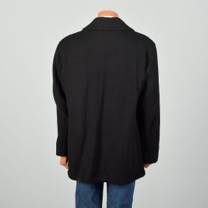 Large 2000s Peacoat Black Double Breasted Winter - Fashionconstellate.com