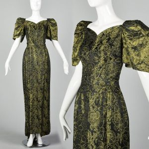 Small 1940s Damask Gown Vintage Puff Sleeve Sweetheart Neckline Bustle