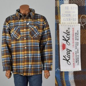 XXXL 1960s Brown Plaid Flannel Shirt All Cotton Long Sleeve Pockets