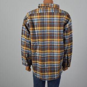 XXXL 1960s Brown Plaid Flannel Shirt All Cotton Long Sleeve Pockets - Fashionconstellate.com