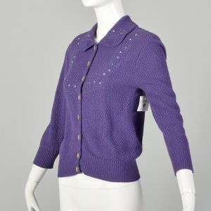 XS 1950s Embroidered Purple Cardigan Sweater Spring Autumn Separates - Fashionconstellate.com