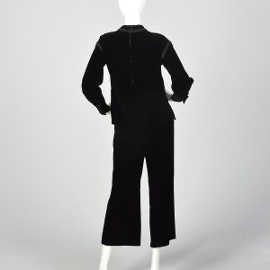 Small 1960s Two Piece Black Velvet Set Culotte Pants and Celtic Cross Long Sleeve Tunic Top - Fashionconstellate.com