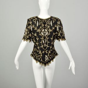 Medium 1990s Black Gold Silver Evening Blouse Beaded Cocktail Party Top - Fashionconstellate.com