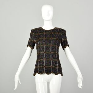 Small 1990s Beaded Evening Blouse Plaid Embellished Top