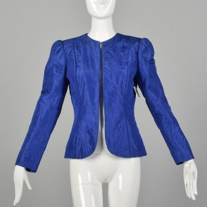 Small 1980s Quilted Jacket Royal Blue Silk Blazer Open Clutch Front Lightweight Puff Sleeve