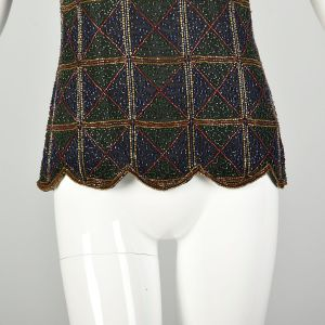 Small 1990s Beaded Evening Blouse Plaid Embellished Top - Fashionconstellate.com