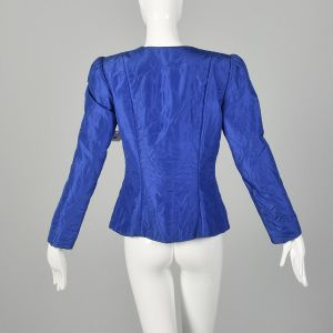 Small 1980s Quilted Jacket Royal Blue Silk Blazer Open Clutch Front Lightweight Puff Sleeve - Fashionconstellate.com