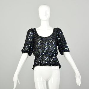 Small 1970s Sequin Disco Party Blouse Sexy Sheer Peplum Evening Top