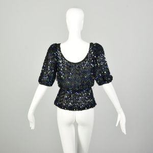 Small 1970s Sequin Disco Party Blouse Sexy Sheer Peplum Evening Top - Fashionconstellate.com