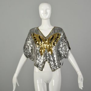 OSFM 1990s Sequin Butterfly Party Blouse Batwing Disco Revival Evening Crop Top