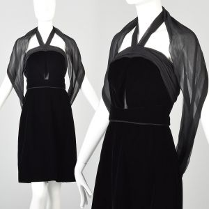 XXS Yves Saint Laurent Black Velvet Halter Dress Backless Mini