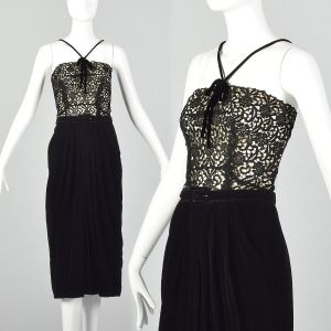 Small 1940s Illusion Bodice Evening Dress Velvet Cocktail Pin-Up Style