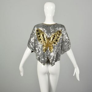 OSFM 1990s Sequin Butterfly Party Blouse Batwing Disco Revival Evening Crop Top - Fashionconstellate.com